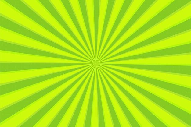 Resumen antecedentes cómico líneas de zoom verde de dibujos animados con efecto de rayos de sol.