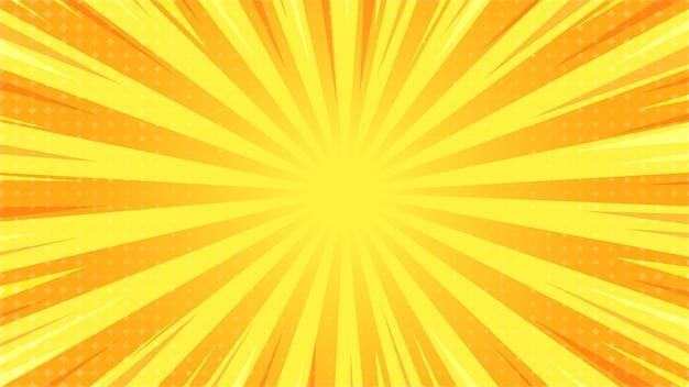 Resumen antecedentes pop art comic rayos de luz dispersos zoom con cuadrados de semitonos.