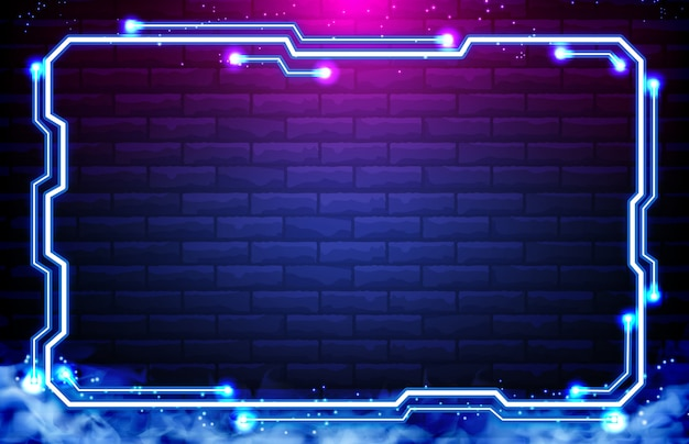 Resumen antecedentes de sci fi hud ui neon frame en pared de ladrillo