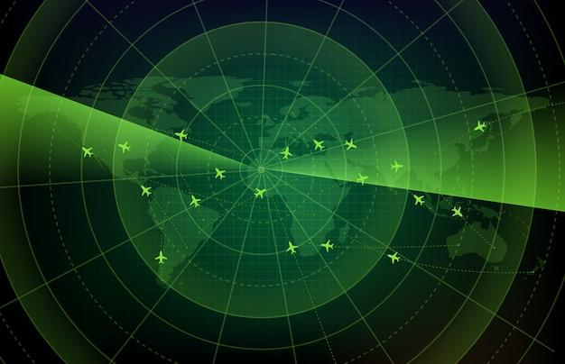Resumen de antecedentes de la tecnología futurista de exploración de pantalla de radar de vuelo ruta de ruta de avión con mapas del mundo