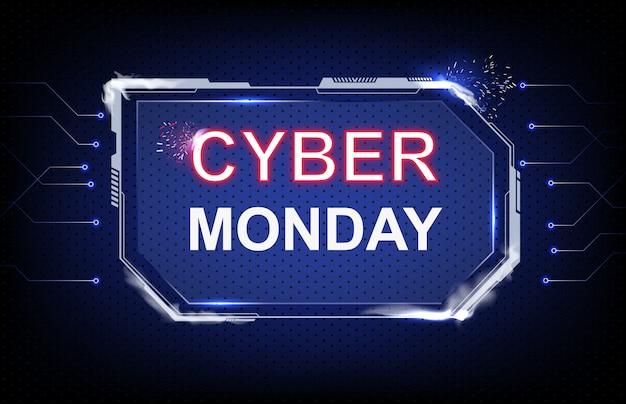 Resumen de antecedentes venta de lunes cibernético con futurista hud de ciencia ficción y línea de conexión