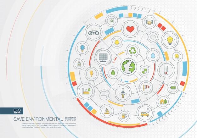Resumen de antecedentes de viaje. sistema de conexión digital con círculos integrados, iconos de colores. interfaz gráfica radial. concepto futuro. ilustración infográfica