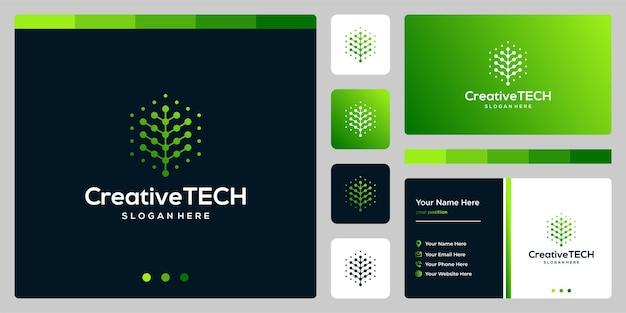 Resumen de árbol de logotipo de inspiración con estilo tecnológico y color degradado. plantilla de tarjeta de visita