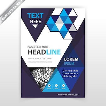 Resumen azul con flyer poligonal