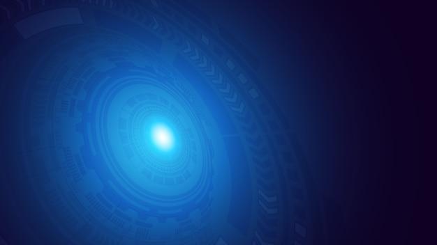 Resumen azul oscuro digital hud círculo futurista circuitos patrones con fondo de rayos de llamarada. ilustración de alta tecnología interfaz de usuario de hud. perspectiva. ciencia y tecnología espacial. .