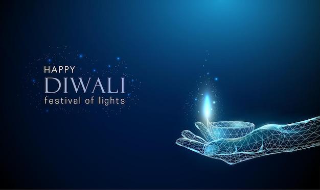 Resumen de baja poli dando la mano con lámpara diwali