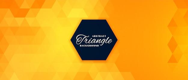 Resumen de banner de patrón de triángulo amarillo brillante