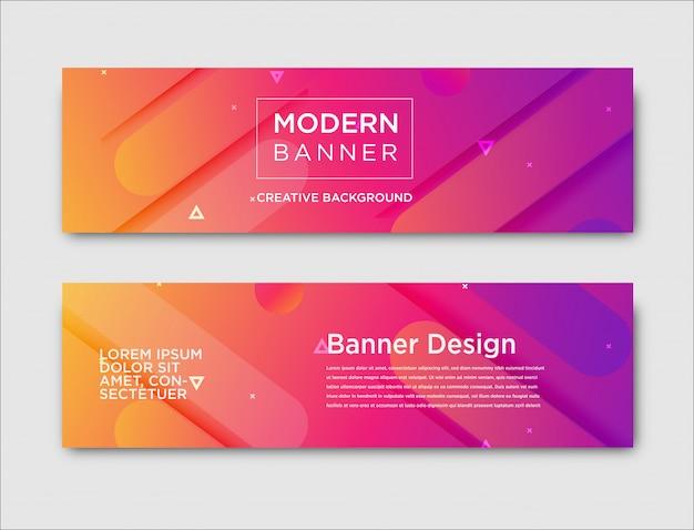 Resumen banners horizontales con diseño degradado