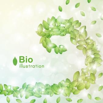 Resumen bio con hojas verdes bokeh y efectos de luz planos
