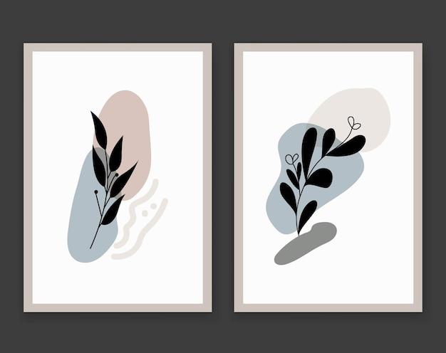 Resumen boho flor hojas silueta arte