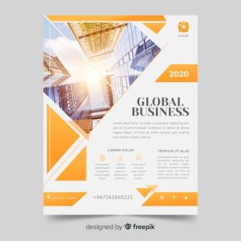 Resumen brillante folleto de negocios con plantilla de foto