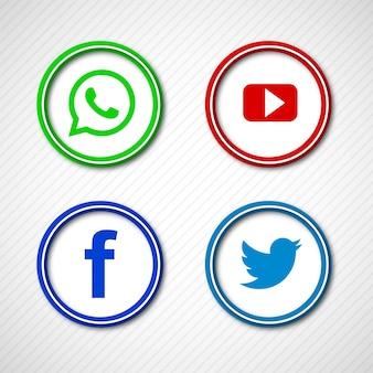 Resumen brillantes iconos de redes sociales establecen diseño