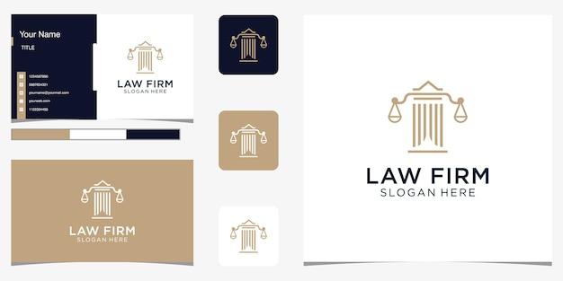 Resumen de bufete de abogados con diseño de lujo de logotipo de pilar para su empresa y tarjeta de visita