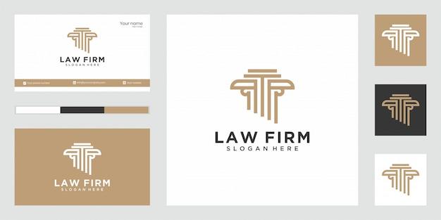 Resumen de bufete de abogados con diseño de lujo de logotipo de pilar para su empresa.