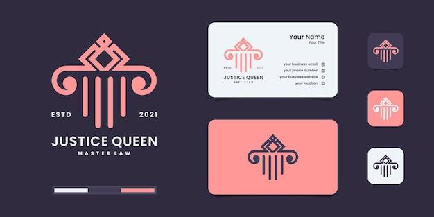 Resumen de bufete de abogados con plantillas de diseño de diseño de lujo de logotipo de corona.