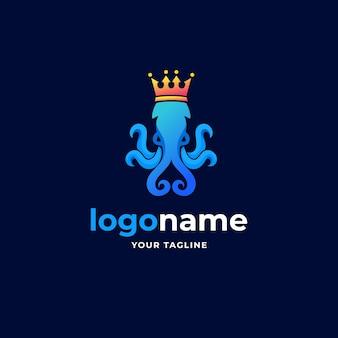 Resumen calamar pulpo rey kraken gradiente minimalista logo