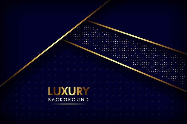 Resumen capas de superposición azul marino línea dorada con patrón de malla circular y fondo de lujo de puntos de brillos dorados