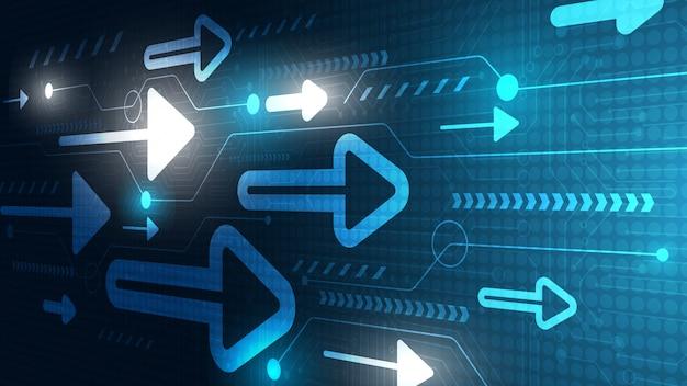 Resumen de carga de datos de tecnología y velocidad de flecha de neón con diseño vectorial de colores de fondo