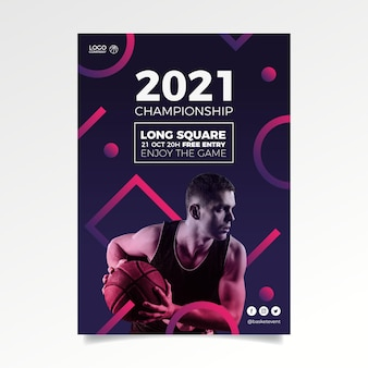 Resumen cartel de evento deportivo 2021 con foto