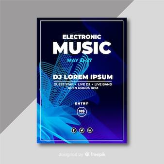Resumen cartel de música electrónica con plantilla de ondas