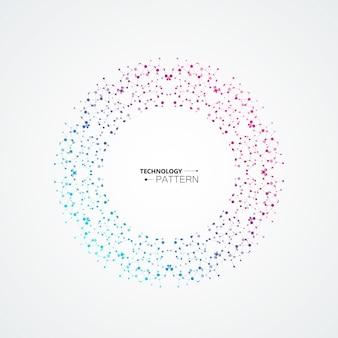 Resumen de círculo se conecta con puntos y líneas de conexión