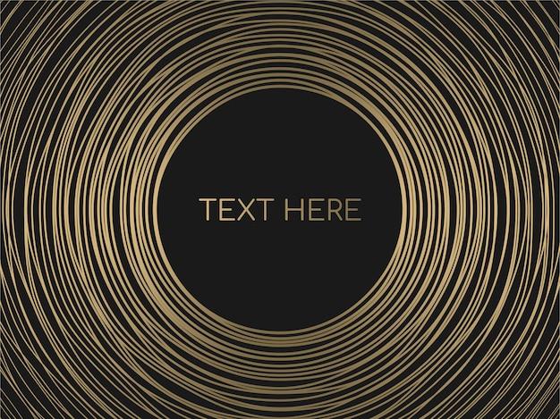 Resumen círculos de oro líneas marco redondo sobre fondo negro.