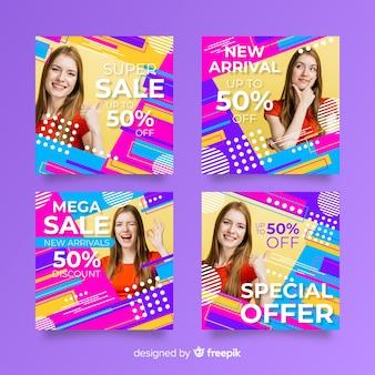 Resumen colección de instagram de banners de ventas