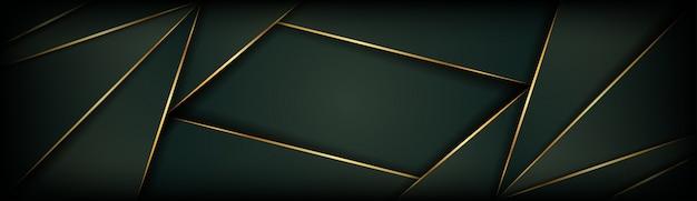 Resumen de color verde oscuro dorado fondo geométrico