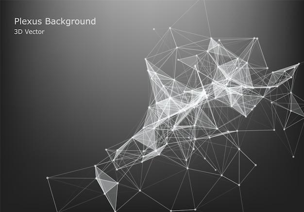 Resumen conexión a internet y tecnología de diseño gráfico. datos futuristas. forma de polietileno baja con puntos y líneas de conexión sobre fondo oscuro.