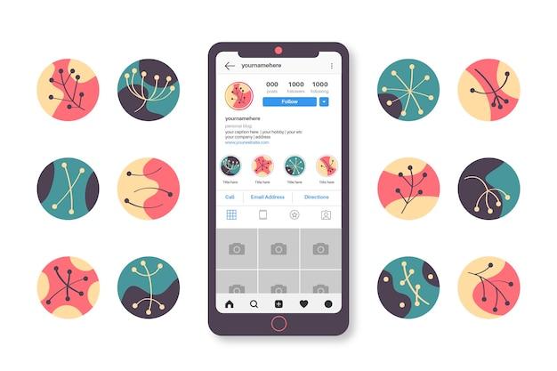 Resumen conjunto de destacados de instagram dibujados a mano