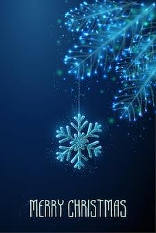 Resumen copo de nieve colgando de la rama de abeto.
