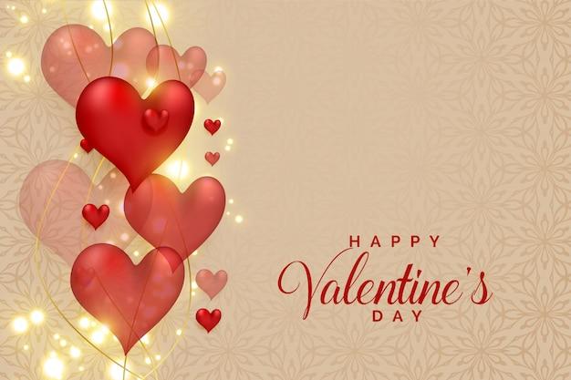 Resumen corazones 3d en destellos brillantes para el día de san valentín