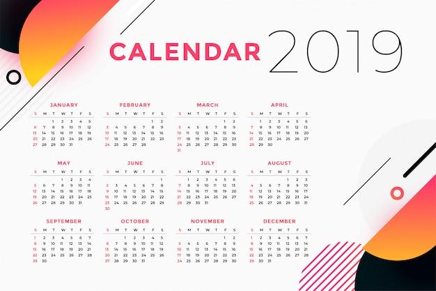 Resumen creativo diseño de calendario 2019