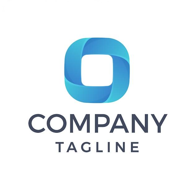 Resumen cuadrado moderno curvo formas apiladas letra o logo