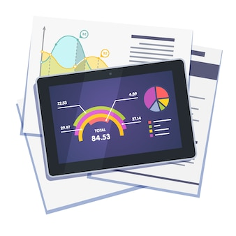 Resumen de datos estadísticos en papel y tableta