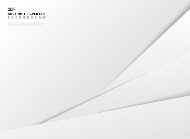 Resumen degradado gris y blanco papel cortado estilo plantilla fondo.