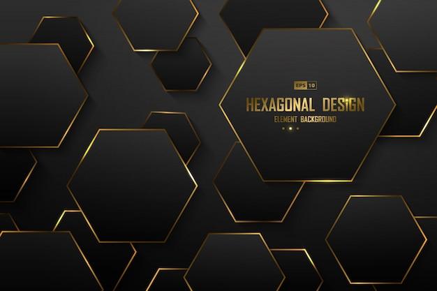 Resumen degradado negro de fondo de decoración de diseño hexagonal de lujo.