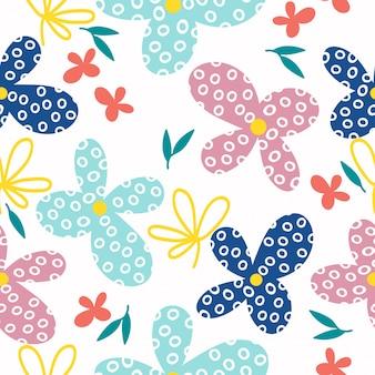 Resumen dibujado a mano abstracto flores sin fisuras de fondo