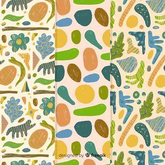 Resumen dibujado a mano con diseño de frutas y verduras