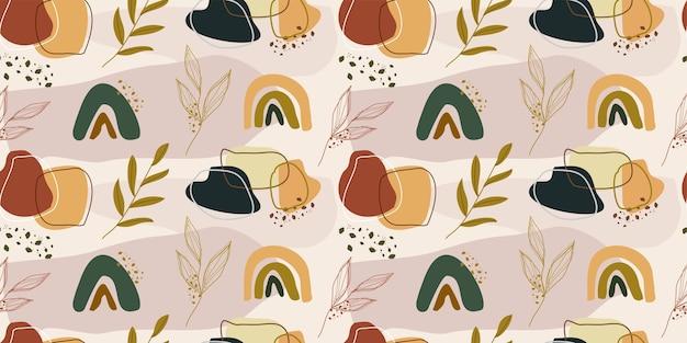 Resumen dibujado a mano moderno de patrones sin fisuras de moda con tonos tierra de colores.