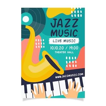 Resumen dibujado a mano plantilla cartel de música jazz