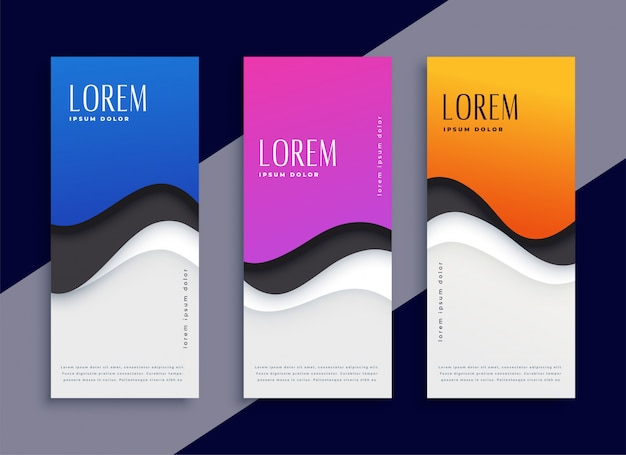 Resumen de diferentes colores de la onda moderna banners verticales