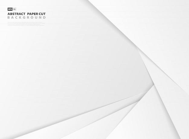 Resumen diseño degradado color gris y blanco papel cortado plantilla de fondo.