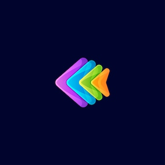 Resumen de diseño de logotipo completo de color de pescado