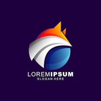 Resumen de diseño de logotipo de zorro premium