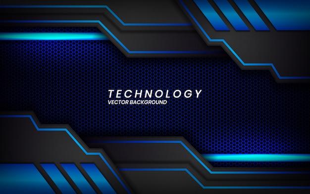 Resumen diseño de marco azul negro metálico moderno fondo de diseño de tecnología