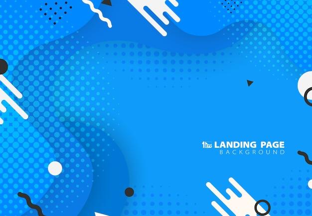 Resumen de diseño de patrón fluido de memphis azul degradado con fondo de ilustraciones geométricas.