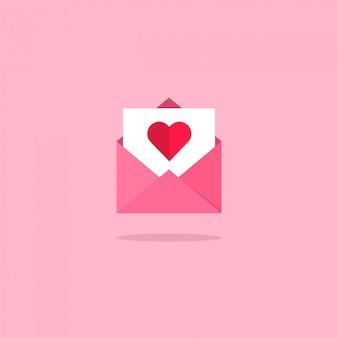 Resumen diseño plano vector amor corazón correo y mensaje icono de color sobre un fondo rosa