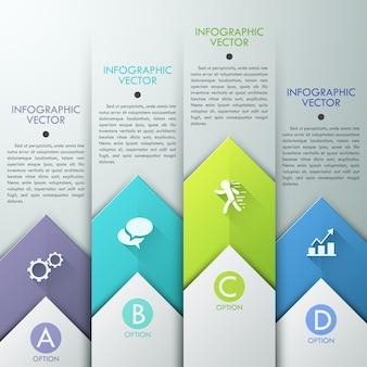 Resumen diseño de plantilla de infografía con flechas de papel