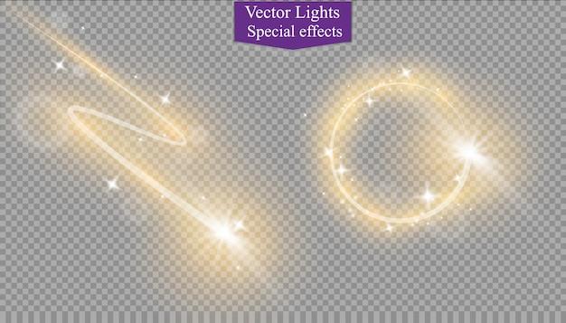 Resumen efecto de luz mágica vórtice resplandor estrella con neon.comet